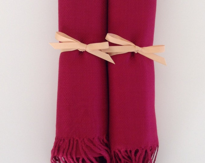 Wine Red Shawls with Gold Ribbon, Set of 2, Pashminas, Scarf, Shawl, Wedding Favor, Bridal Shower Gift, Bridesmaids Gift, Wrap, Welcome Bags