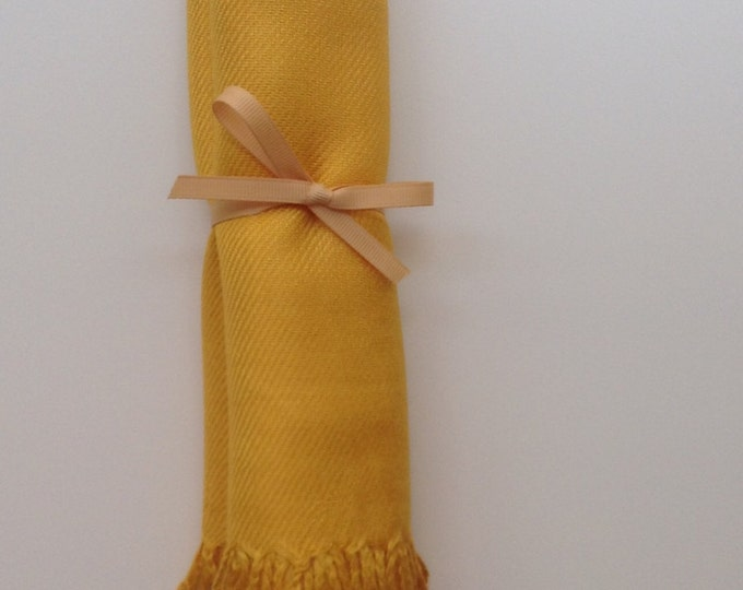 Mustard Yellow Shawl with Gold Ribbon, 1, Pashmina, Scarf, Wedding Favor, Bridal Shower Gift, Bridesmaid Gift, Welcome Bag, Wedding Keepsake