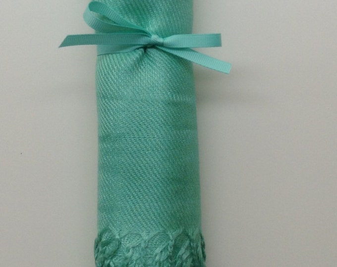 Mint Shawl with Mint Ribbon, 1, Pashmina, Scarf, Wedding Favor, Bridal Shower Gift, Bridesmaids Gift, Welcome Bags, Wedding Keepsakes