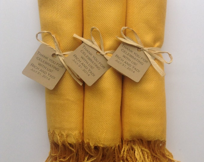Mustard Yellow Shawls with Favor Tags, Set of 3, Pashmina, Wedding Favor, Bridal, Bridesmaids Gift, Wraps, Welcome Bags, Wedding Keepsakes