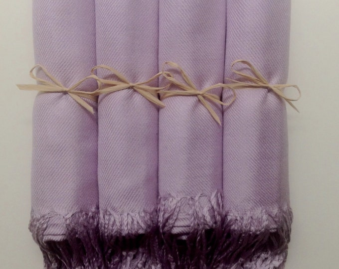 Lilac Shawls with Brown Raffia Ribbon, Set of 4, Pashminas, Scarf, Shawl, Wedding Favor, Bridal Shower, Bridesmaids Gift, Wrap, Welcome Bags