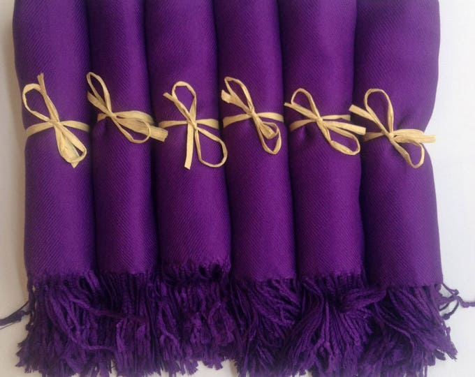 Eggplant Purple Shawls with Raffia Ribbon, Set of 7, Pashmina, Scarf, Wedding Favor, Bridal Shower Gift, Bridesmaid Gift, Wraps
