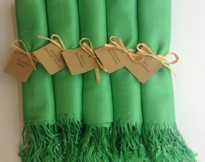 Green Shawls with Raffia Ribbon and Kraft Favor Tags, Set of 5, Pashmina, Wedding Favor, Bridal Shower Gift, Bridesmaids Gift, Wraps