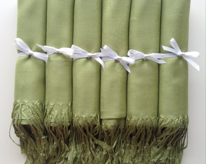 Lime Green Shawls with White Ribbon, Set of 6, Pashmina, Scarf, Wedding Favor, Bridal Shower Gift, Bridesmaids Gift, Wedding Keepsakes