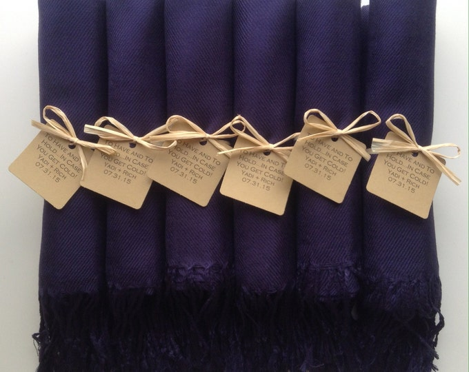 Dark Navy Blue Shawls with Raffia Ribbon and Kraft Favor Tags, Set of 5, Pashmina, Wedding Favor, Bridal, Bridesmaids Gift, Wraps