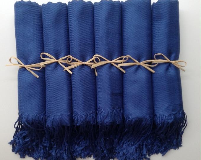 Pashmina, Navy Blue Shawls, Raffia Ribbon, Set of 7, Pashminas, Wedding Favors, Bridal Shower Favor, Bridesmaids Gifts, Bridesmaid Pashminas