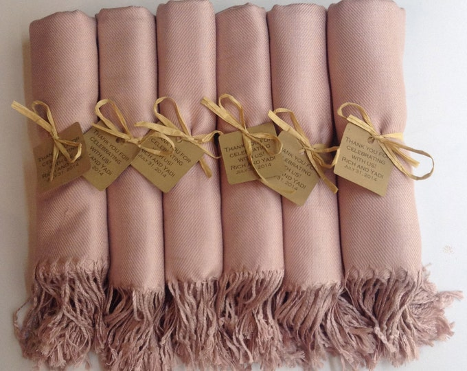 Pashmina, Nude Shawls, Raffia Ribbon, Kraft Favor Tags, Set of 9, Pashminas, Wedding Favors, Bridesmaids Gift, Bridesmaid Pashmina, Shawls