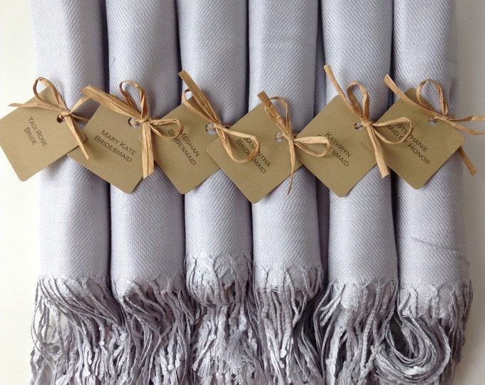 Light Silver Shawls with Raffia Ribbon and Kraft Favor Tags, Set of 8, Pashmina, Wedding Favor, Bridal, Bridesmaids Gift, Wraps, Welcome Bag