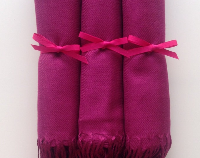 Magenta Shawls with Hot Pink Ribbon, Set of 3, Pashmina, Scarf, Shawl, Wedding Favor, Bridal Shower, Bridesmaids Gift, Wrap, Welcome Bags