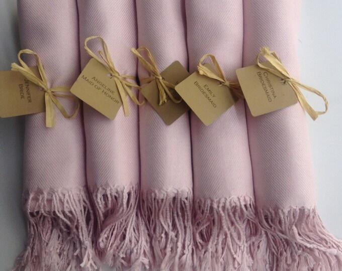 Baby Pink Shawls with Raffia Ribbon and Kraft Favor Tags, Set of 5, Pashmina, Wedding Favor, Bridal, Bridesmaids Gift, Wedding Keepsakes