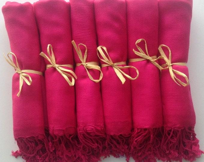 Pashmina, Hot Pink Shawls, Raffia Ribbon, Set of 8, Pashminas, Shawls, Wedding Favors, Bridal Shower Favors, Bridesmaids Gift, Pashmina