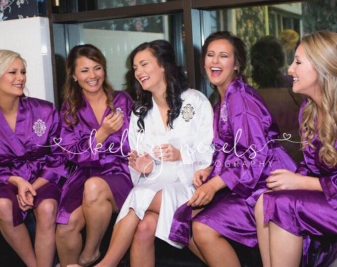 Bridesmaid Robes, Set of 12, Satin Robes, Bridesmaids Gifts, Wedding Party, Monogrammed Bridal Party Robes, Silk Bridesmaid Robes, Silk Robe