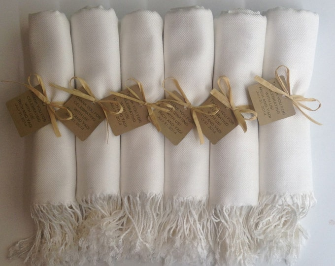Pashmina, Ivory Shawls, Raffia Ribbon with Kraft Favor Tags, Set of 12, Pashminas, Wedding Favor, Bridal, Bridesmaid Gift, Flower Girl Shawl