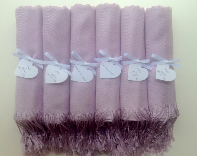 Lilac Shawls with White Ribbon and Heart Favor Tags, Set of 10, Pashminas, Scarf, Wedding Favor, Bridal Shower, Bridesmaids Gift, Wraps