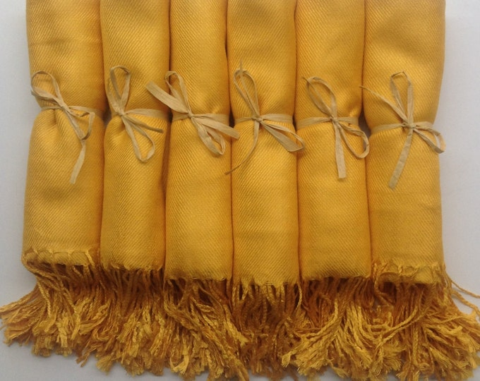 Pashmina, Mustard Yellow Shawls, Raffia Ribbon Set of 8, Pashminas, Shawls, Wedding Favors, Bridal Shower Favors, Bridesmaids Gift, Pashmina