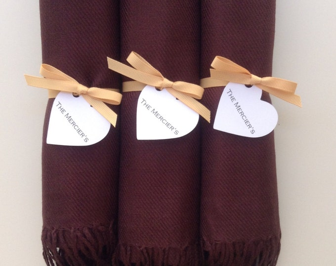 Chocolate Brown Shawls with Caramel Ribbon and Heart Favor Tags, Set of 3, Pashmina, Scarf, Wedding Favors, Bridesmaids Gift, Wraps
