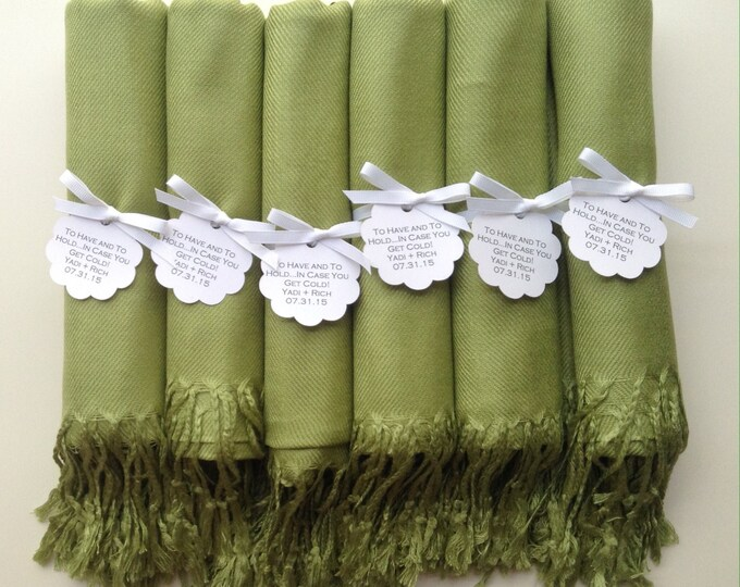Lime Green Shawls with White Ribbon and Scallop Favor Tags, Set of 8, Pashmina, Wedding Favor, Bridesmaids Gift, Wraps, Wedding Keepsakes