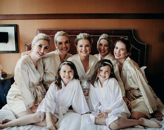 Bridesmaid Robes, Set of 7, Satin Robes, Bridesmaids Gifts, Wedding Party, Monogrammed Bridal Party Robes, Silk Bridesmaid Robes