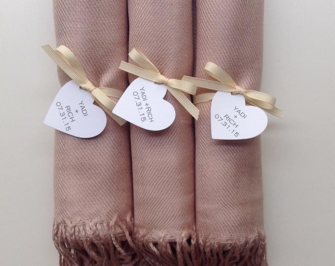 Nude Shawls with Ivory Ribbon and Heart Favor Tags, Set of 3, Pashmina, Wedding Favor, Bridal, Bridesmaids Gift, Wraps, Welcome Bags