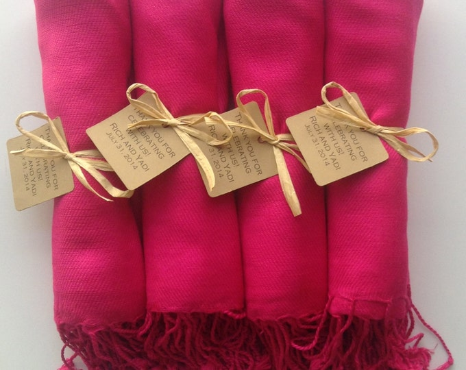 Hot Pink Shawl with Raffia Ribbon and Kraft Favor Tags, Set of 4, Pashmina, Wedding Favor, Bridal, Bridesmaids Gift, Wraps, Welcome Bags