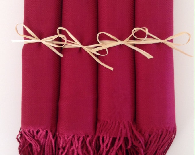 Pashmina, Wine Red Shawls, Raffia Ribbon, Set of 4, Pashminas, Shawls, Wedding Favors, Bridal Shower Favors, Bridesmaids Gift, Pashmina