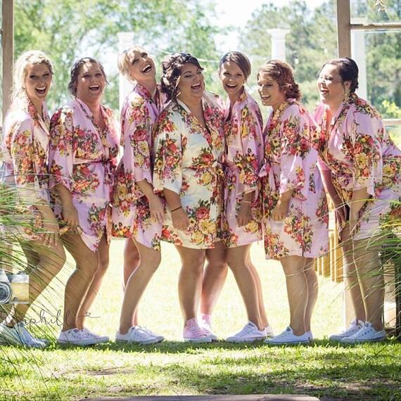 Party Bridesmaids Bridesmaids Bridal Robes Silk Gifts Set Robe of Wedding Floral Robe Robes Silk Floral Floral Robes Satin 5 Party v1qUOxB