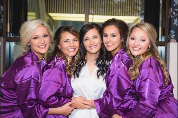 Monogrammed Party Bridesmaids Set Party Robes Satin Silk Bridesmaid Robes Bridal Robes Robes of 5 Bridesmaid Gifts Wedding HBxYvqz
