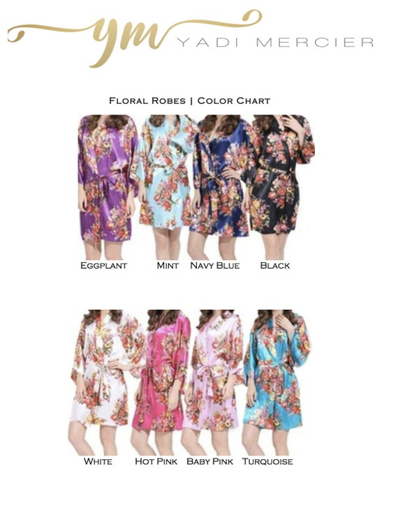 Party Wedding Silk Bridesmaids Robe Robes Party Silk Floral Robes Robe of Floral Bridesmaids Floral Bridal Satin Set Gifts 12 Robes OWWqpwf7