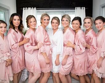 Bridesmaids Robe, Satin Robes with Lace Set of 1 2 3 4 5 6 7 8 9 10, Bridesmaids Gifts, Bridal Party Robes, Silk Robe, Bridal Robes