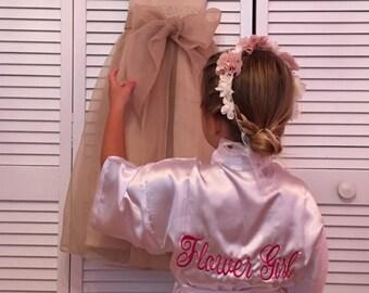 Flower Girl Satin Robe, Junior Bridesmaid Satin Robe, Monogrammed, Bridesmaids Gifts, Kids Robe, Bridal Party Robes, Children Satin Robes