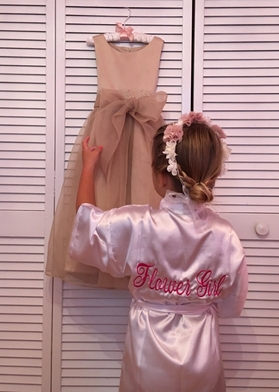 00cc6373d Flower Girl Satin Robe, 1, Junior Bridesmaid Satin Robe, Monogrammed,  Bridesmaids Gifts, Kids Robe, Bridal Party Robes, Children Satin Robes