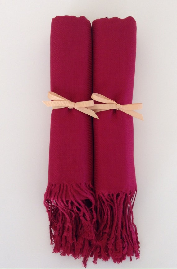 0a740f594b Wine Red Shawls with Gold Ribbon Set of 2 Pashminas Scarf