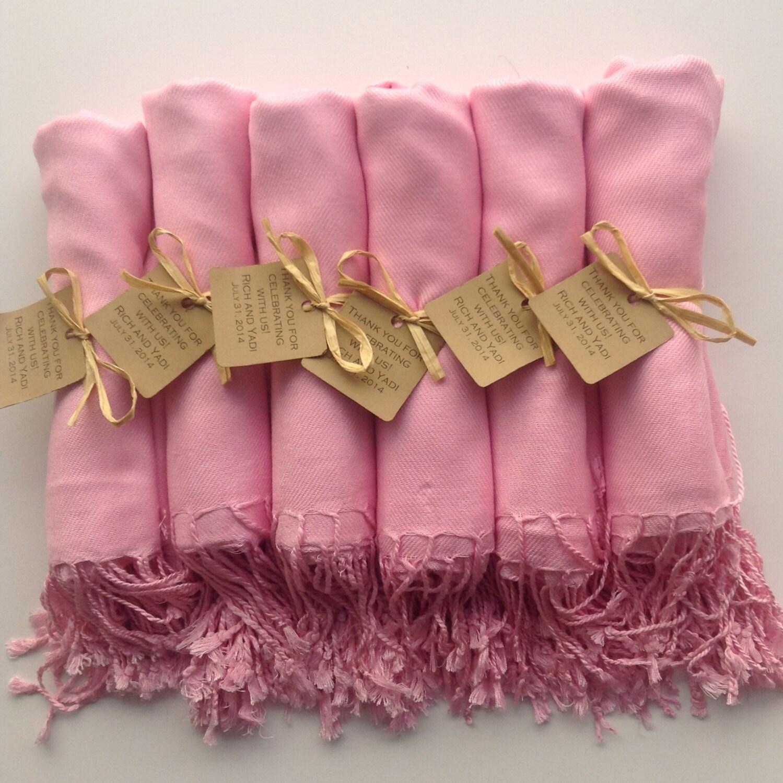 Blush Pink Shawls with Raffia Ribbon and Kraft Favor Tags, Set of 8 ...