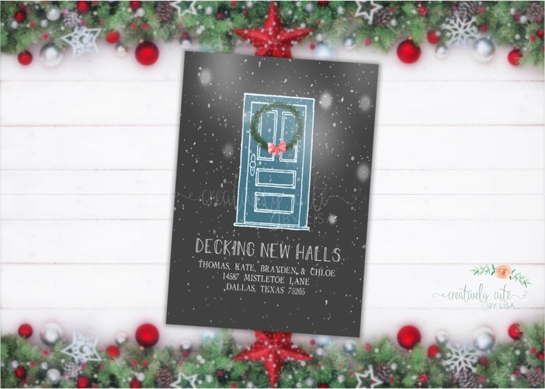 Decking New Halls New Home Announcement Holiday Moving Announcement Christmas Card We/'ve Moved Card Christmas Moving Announcement