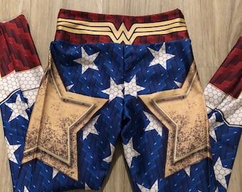 Girls Wonder Woman Leggings, Wonder Girl, Little Girl Justice League Pants