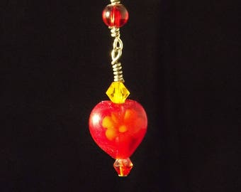 Red, yellow and sterling silver earrings