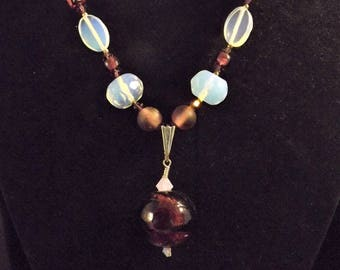 Purple and opalite necklace and earrings set