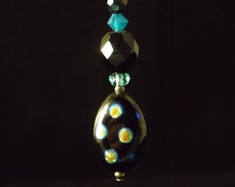 Black and turquoise sterling silver earrings