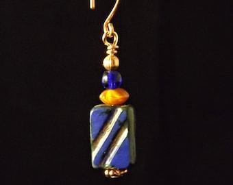 Royal blue and orange copper earrings