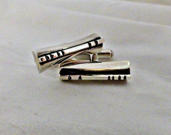 Sterling Cuff Links Mid Century Torpedo Backs circa 1950's