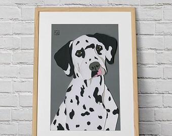 b796b1f6 Dalmatian art download, dog portrait wall art.