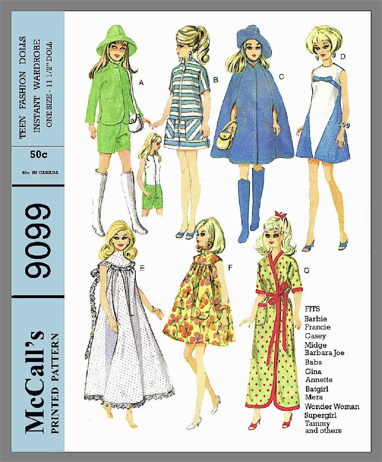 Vintage Doll Clothes PATTERN 8519 for 17.5 in Crissy Kerry Tressy  by Ideal