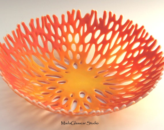 Sunset Coral Fused Glass Bowl
