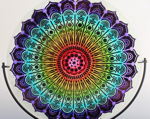 Boho Mandala Fused Crushed Tempered Glass Disk