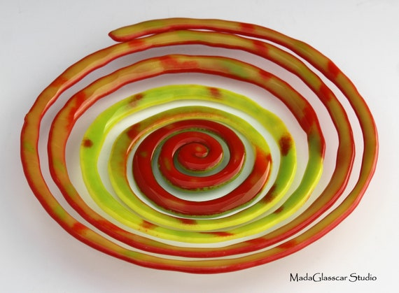 Spiral Fused Glass Bowl