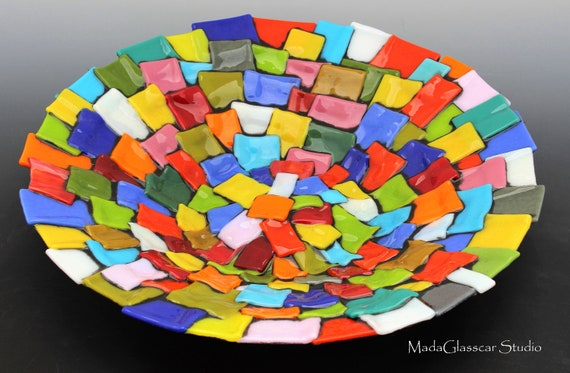 Fifty Shades of Color Fused Glass Bowl