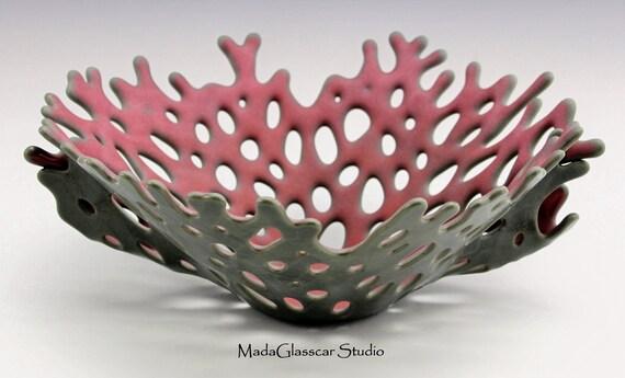 Mediterranean Pink Coral Fused Glass Vase