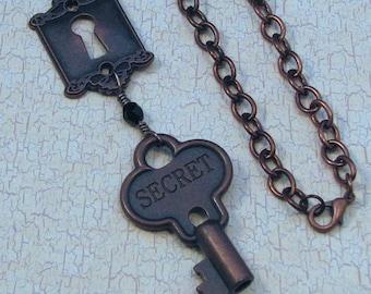 Steampunk Secret Key Pendant on Antiqued Copper Chain, Victorian Key Necklace, Steampunk Key Necklace, Steampunk Accessory, Copper Key