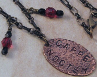 """Carpe Noctem """"Seize the Night"""" Hand Stamped Copper Pendant, Stamped Copper Necklace, Goth Necklace, Geek Necklace, Gift for Her"""