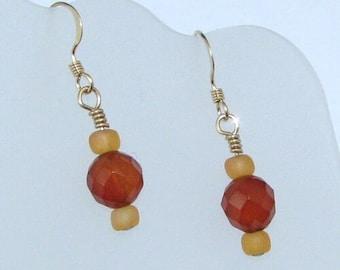 Carnelian Earrings on Gold Filled Ear Wires, Natural Stone Jewelry, Minimalist Earrings